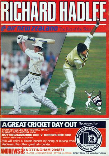 Richard-Hadlee-autograph-signed-1986-Notts-CCC-Testimonial-programme-brochure-New-Zealand-kiwi-paddles-cricket-memorabilia
