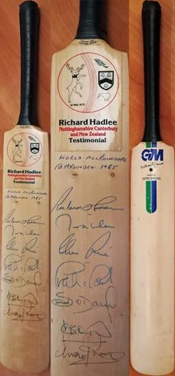 Richard Hadlee autograph testimonial notts cricket memorabilia silk cut challenge all rounder 1985 arundel ian botham imran khan clive rice viv richards signed GM mini bat