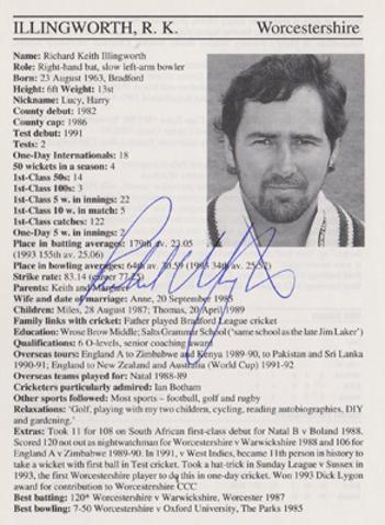 Richard-Illingworth-autograph-signed-worcs-cricket-memorabilia-signature-England-spinner-captain-coach-1995-county-cricketers-whos-who-umpire