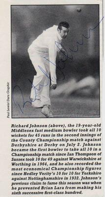 Richard-Johnson-autograph-signed-Middlesex-cricket-memorabilia-Middx-CCC-county-fast-bowler-England-test-match-cap-ten-10-wickets-derbyshire-derbys-1994