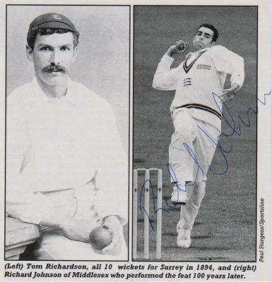 Richard-Johnson-autograph-signed-Middlesex-cricket-memorabilia-Middx-CCC-county-fast-bowler-ten-10-wickets-tom-richardson