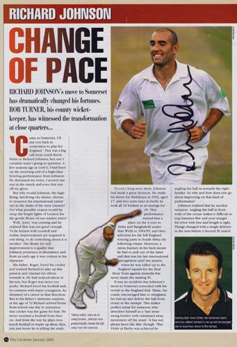 Richard-Johnson-autograph-signed-Somerset-cricket-memorabilia-CCC-county-fast-bowler-England-test-match-cap-Middx