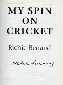 Richie Benaud signed book My Spin on Cricket cover signature