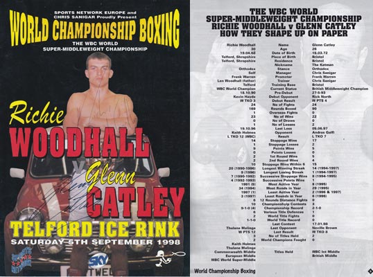 Richie-Woodhall-autograph-signed-wbc-super-middleweight-world-championship-boxing-memorabilia-programme-glenn-catley-telford-1998