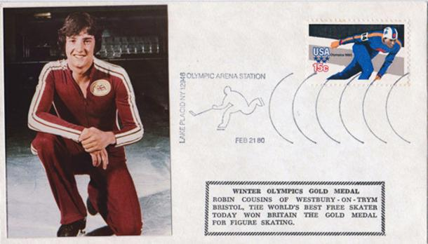 Robin-Cousins-ice-skating-olympics-memorabilia-lake-placid-1980-gold-medal-champion-first-day-cover-fdc-winter-olympic-games-stamps-usa-dancing-on-ice-itv-judge