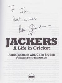 Robin-Jackman-autograph-signed-book-autobiography-Jackers-a-life-in-cricket-south-africa-England-test-match-bowler-surrey-ccc-first-edition