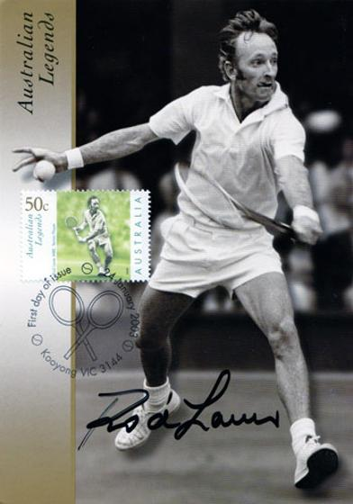 Rod-Laver-signed-tennis-First-Day-Cover-Australian-Legends autographed memorabilia FDC