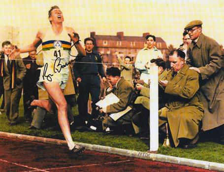 Roger-Bannister-autograph-signed-Athletics-memorabilia-sub-four-minute-mile-Sir-Iffley-road-ouac-world record