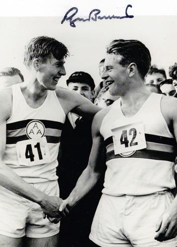 Roger-Bannister-autograph-signed-Athletics-memorabilia-sub-four-minute-mile-record-Sir-Iffley-rd-chris-chataway-brasher-handshake