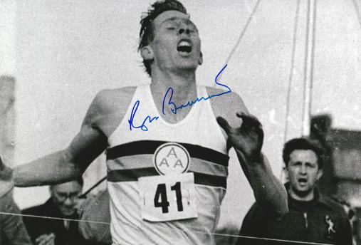Roger-Bannister-autograph-signed-athletics-sub-four-minute-mile-memorabilia-iffley-road-oxford-Sir-chris-chataway-brasher-dr-doctor