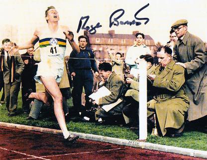 Roger-Bannister-autograph-signed-photo-first-sub-four-minute-mile-iffley-road-autographed-athletics-memorabilia-AAA-Chris-Brasher-Chataway-colour