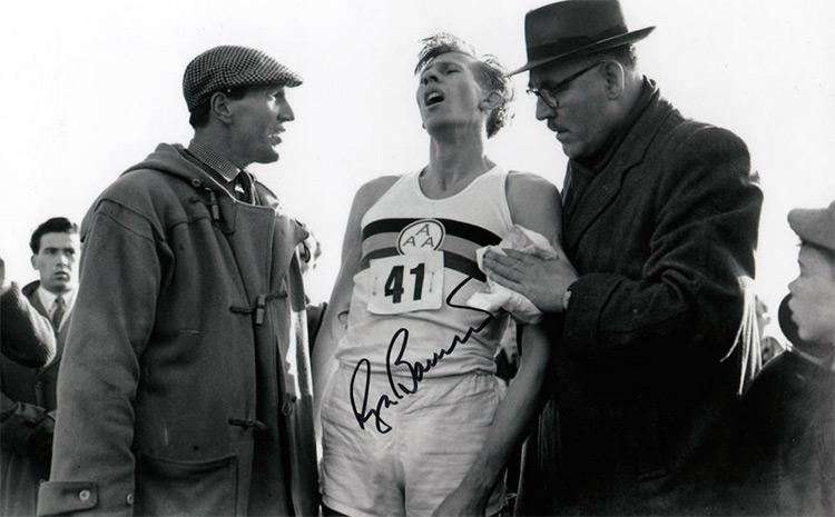 Roger-Bannister-autograph-signed-sub-four-minute-mile-photo-sir-iffley-road-oxford-1954-post-race-after-finish-world-record