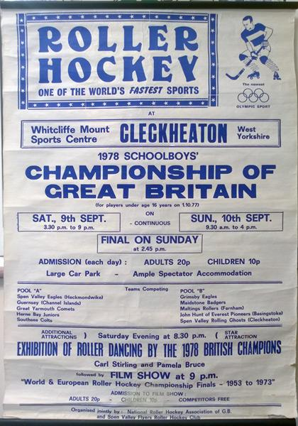 Roller-Hockey-memorabilia-1978-Great-Britain-schoolboys-championship-poster-flyer-cleckheaton-yorkshire
