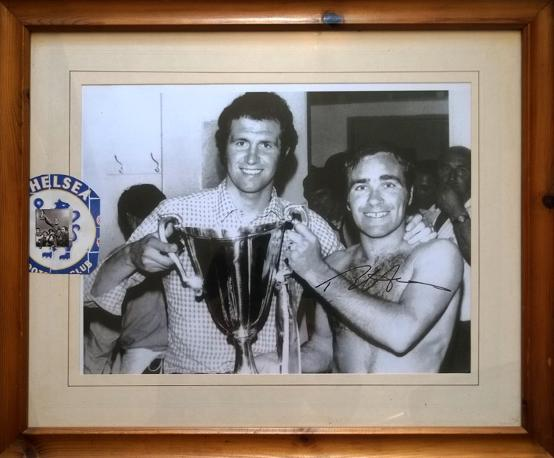 RON 'Chopper' HARRIS Signed Chelsea FC ECWC montage Pictured with Peter Osgood & the European Cup Winners Cup