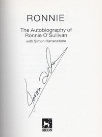 'ROCKET' RONNIE O'SULLIVAN (5 x World Champion) signed autobiography