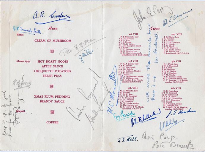Rowing-memorabilia-St-Catharines-college-boat-club-signed-the-fairbairn-cup-dinner-menu-1950-Cambridge-River-Cam-fairbairns-rowers-oarsmen-eights-crews-signed-autograph