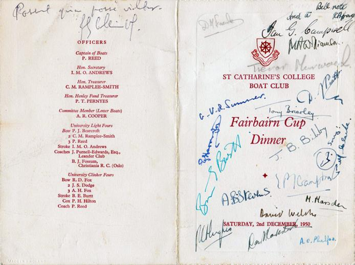 Rowing-memorabilia-St-Catharines-college-boat-club-signed-the-fairbairn-cup-dinner-menu-1950-fairbairns-Cambridge-River-Cam-rowers-oarsmen-eights-crews-signed-autograph