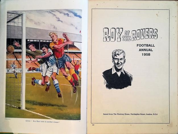 Roy-of-the-Rovers-football-memorabilia-1958-annual-roy-race-cover-art-soccer-comic-strip-collectables-fleetwood-editions-publishing