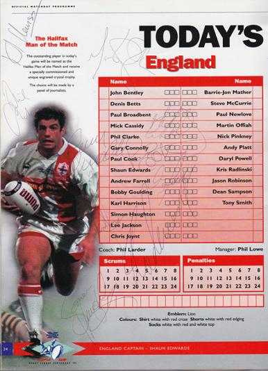 Rugby-League-world-cup-memorabilia-1995-programme-england-wales-semi-final-autograph-signed-Betts-Edwards-Farrell-Offiah-Jason-Robinson-Bentley-Newlove-Goulding-Radlinski