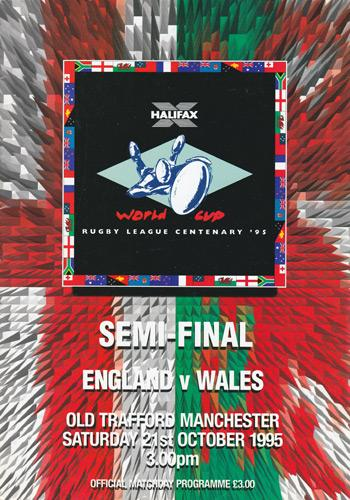 Rugby-League-world-cup-memorabilia-1995-programme-england-wales-semi-final-autograph-signed-Betts-Edwards-Farrell-Offiah-Moriarty-Iestyn-Harris-Devereaux-Phil-Ford-Old-Trafford