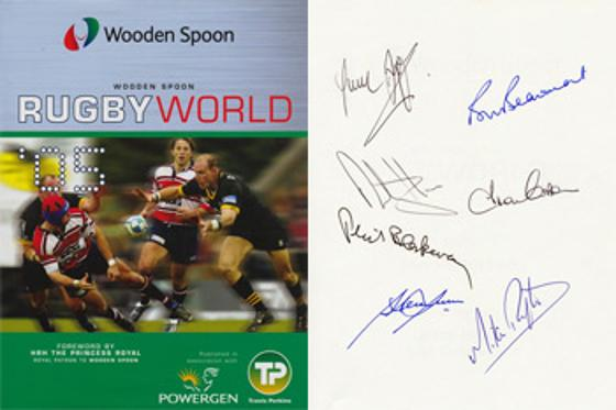 Wooden Spoon charity Rugby memorabilia book signed by 1980 England Grand Slam players Bill Beaumont autograph