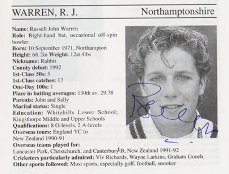 Russell-Warren-autograph-signed-northamptonshire-cricket-memorabilia-northants-ccc-whos-who-signature