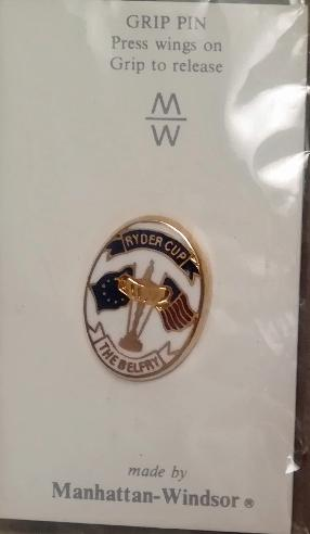 Ryder-cup-golf memorabilia-pin-badge-europe-v-usa-the belfry golf course logo-manhattan-windsor