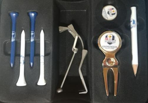 Ryder-cup-golf-memorabilia-pin-badge-europe-v-usa-2014-gleneagles-golf-course-logo-tees-pencils-ball-marker-pitch-mark-repairer