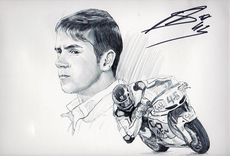 SCOTT-REDDING memorabilia 45-signed-motor-bike-cycle-memorabilia Grand Prix print autograph memorabilia sports