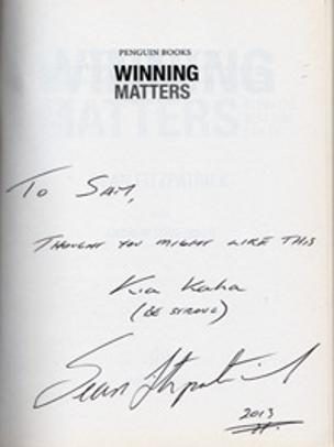 SEAN FITZPATRICK memorabilia signed book Winning Matters New Zealand rugby memorabilia All Blacks memorabilia autograph