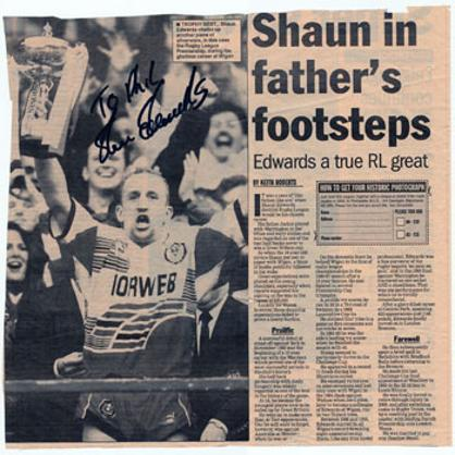 SHAUN EDWARDS signed Rugby League newspaper article Wigan Wasps Great Britain rugby memorabilia
