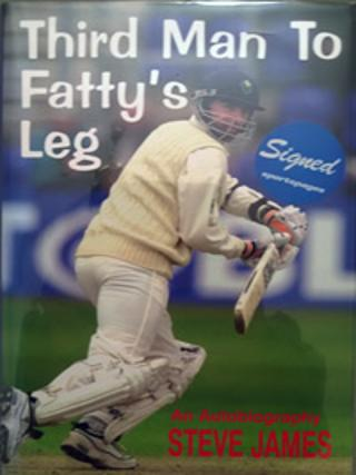 STEVE-JAMES-memorabilia-signed-autobiography-Third-Man-to-Fattys-Leg-Glamorgan-cricket-memorabilia-autographed-signature