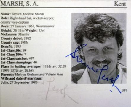 STEVE MARSH memorabilia Kent cricket memorabilia Cricketers Whos Who biopic signed autograph