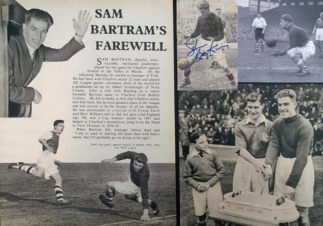 Sam-Bartram-memorabilia-autograph-signed-Charlton-Athletic-football-memorabilia-1950s-Addicks-goalkeeper-goalie-CAFC-Valley-montage-Farewell-career