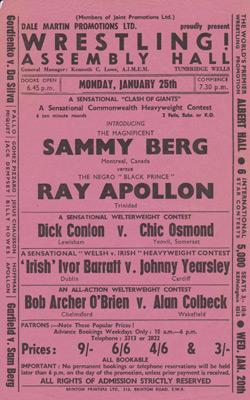 Sammy-Berg-autograph-Roy-Apollon-signed-wrestling-flyer-wrestler-Dale-Martin-Promotions-dick-conlon-chic-osmond-assembly-halls-tunbridge-wells-1970s