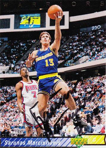 Sarunas-Marciulionis-autograph-signed-Golden-State-Warriors-NBA-memorabilia-basketball-Lithuania-Supersonics-Kings-Nuggets-center
