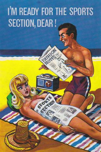 Saucy-postcard-smutty-bawdy-mcgill-sports-sporting-memorabilia-sexy-seaside-humour-fun-funny-buxom-blonde newspaper media back pages