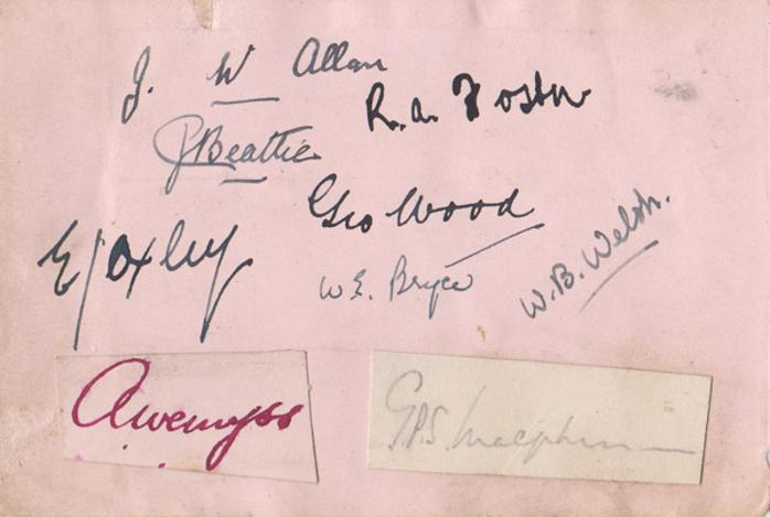Scotland-rugby-memorabilia-1930s-Phil-Macpherson-autograph-ANDREW-JOCK-WEMYSS-WILLIE-WELSH-ROBERT-FOSTER-E-J-OXLEY-DODDIE-WOOD-signature