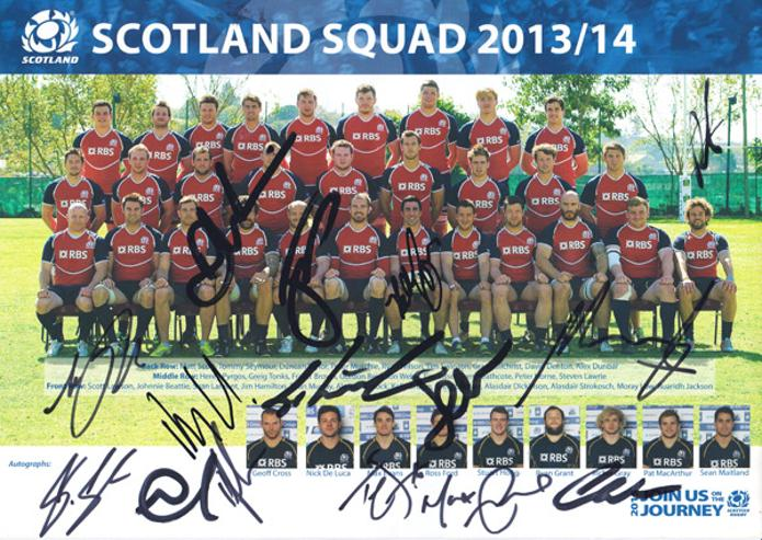 Scotland-rugby-memorabilia-signed-2013-squad-team-photo-poster-join-us-on-the-journey-rbs-Autumn-Tests-Max-Evans-autograph-signature-srufc