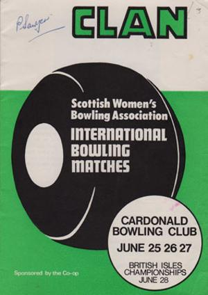 Scottish-Womens-Lawn-Bowling-memorabilia-signed-1973-British-Isles-champs-programme-P-Sawyer-Clan