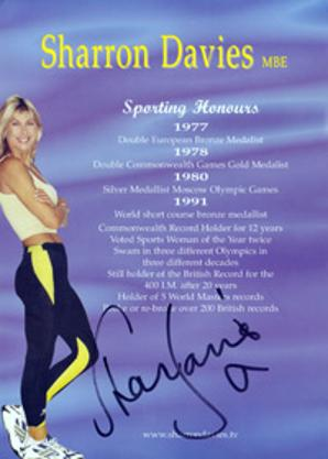 SHARON DAVIES (1980 Olympic silver medal) hand-signed promo card swimming memorabilia Amazon Gladiators