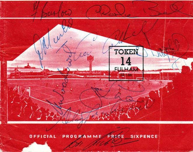 Sheffield-United-football-memorabilia-signed-match-day-programme-jan-1966-Fulham-len-badger-wagstaff-coldwell-reece-woodward-hodgkinson-alan-birchenall-blades-Sheff-Utd