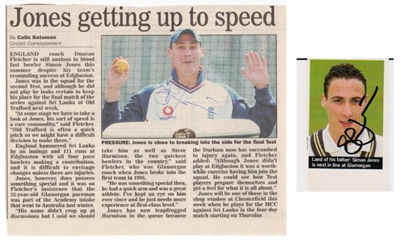 Simon-Jones-autograph-signed-Glamorgan-cricket-memorabilia-England-test-match-fast-bowler-newspaper-article-portrait-pic