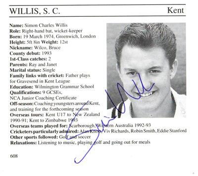 Simon-Willis-autograph-signed-kent-cricket-memorabilia-signature-captain-england-batsman-wicket-keeper-1995-county-cricketers-whos-who