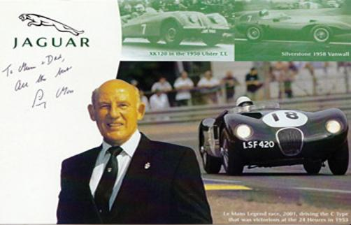 Sir Stirling Moss memorabilia signed Jaguar motor racing photo
