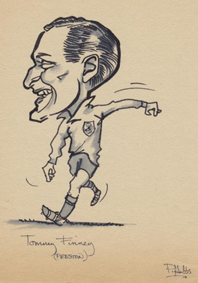 Sir-Tom-Finney-memorabilia-Preston-North-End-football-memorabilia-signed-cartoon-P-Hobbs-caricature-pen-pic-drawing