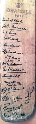 South-Africa-cricket-memorabilia-signed-bat-1935-tour-of-england-team-squad-Balaskas Mitchell Nourse Viljoen Wade-autographs-test-match