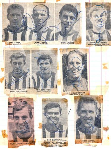 Southampton-FC-football-memorabilia-Saints-Jimmy-Melia-autograph-terry-paine-signed-martin-chivers-signature-Walker-Hollywood-Sydenham-Hollowbread-Davies-Wimshurst
