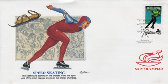 Speed-Skating-Winter-Olympics-Hungary-First-Day-Cover-FDC-Calgary-1988-XXIV-Olympiad-Breugel-Olympic-Memorabilia