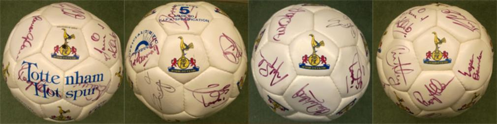 Spurs-signed-football-Tottenham-Hotspur-autograph-soccer-ball-Sheringham-Anderton-Francis-Rosenthal-Fox-Campbell-Carr-Sinton-White-Hart-Lane-COYS
